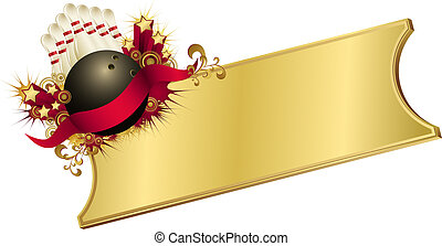 Golden Red Bowling Ticket - illustration of a bowling ball...