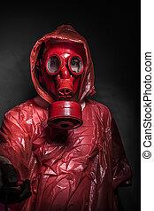 conceito, máscara,  gás, infecção,  ebola, vermelho, homem