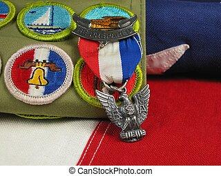 águila, explorador, premio, bandera