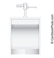 Urinal - Illustration of urinal and flush valve on white...