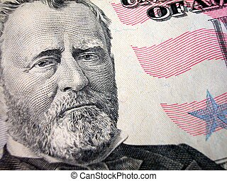 President Grant on Fifty Dollar Bill - Close up Shot of...