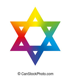 Star of David Rainbow Gradient Whit - Star of David symbol...