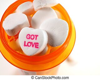 White Candy Hears in Medicine Bottle - Got Love Candy in...