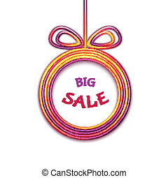 Vector illustration of fur-tree toy with Big Sale label