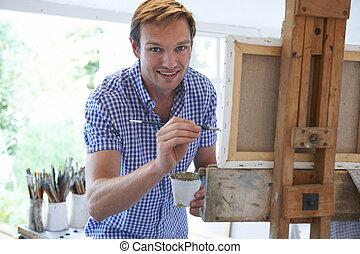 macho, artista, Pintura, en, estudio