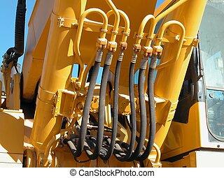 hidráulico, Mangueiras, pesado, equipamento