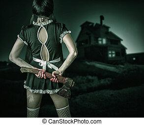 sucio, mujer, estantes, espalda, tenencia, sangriento, Hacha