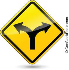 direções, vetorial, dois, sinal
