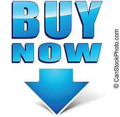 Vector buy now icon - Vector illustration of blue buy now...