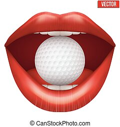 Womans open mouth with golf ball in lips. Vector...