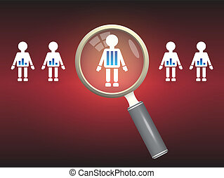 People select - Illustration of model people and magnifier...
