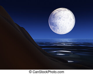 Full Moon over a Sea Cliff - A full moon background over a...