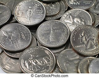 Silver US Coins - Pile of US Quater Dollar Coins