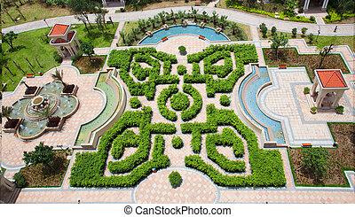 Garden - aerial view of a garden