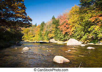 Fall river scenery - Colorful fall foliage on the bank of a...