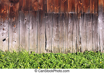 wall of old wooden house