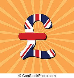 Pound symbol sunburst - British Pound symbol on sunburst...