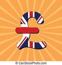 Pound symbol sunburst - British Pound symbol on sunburst...