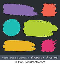 Set of Hand Drawn Flat Grunge Stains - Set of Hand Drawn...