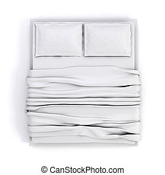 3d empty white bed on white background