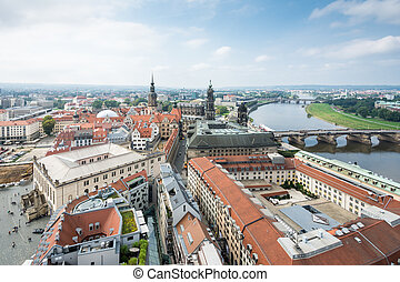 Cityscape of Dresden and River Elbe - The cityscape of...