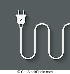 electric wire with plug - vector illustration eps 10