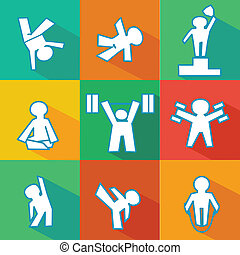 flat fitness icons - isolated vector flat icon set of...