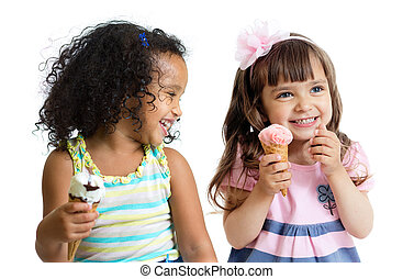 happy kids two girls eating ice cream isolated - happy...