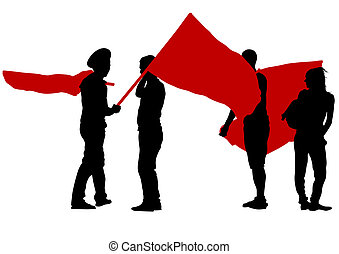 Anarchists whit flags - People of anarchia with large flags...