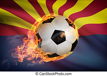 Soccer ball with flag on background series - Arizona