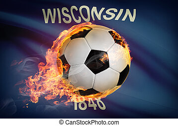 Soccer ball with flag on background series - Wisconsin