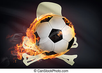Soccer ball with flag on background series - Jolly Roger...