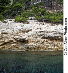 french calanques of cassis - closeup of a french calanques...