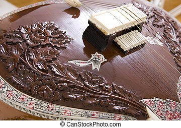 Sitar, a string Indian Traditional instrument, close-up -...
