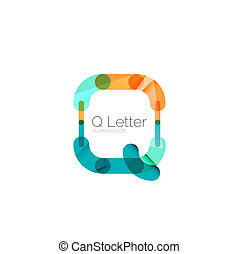Minimal Q font or letter logo design isolated on white