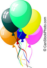 colourful balloons with glare - Beautiful colour balloons in...