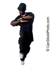 Cool young hip-hop man on white background - Cool young...