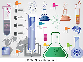 test tubes and flasks of different types and volume -...