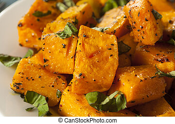 Organic Baked Butternut Squash with Herbs and Spices