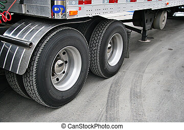 Transport truck tires taken closeup