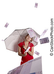 It is raining in Europe - Red haired girl under the rain of...