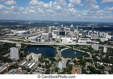 Downtown Orlando, Florida - Aerial view of downtown Orlando,...