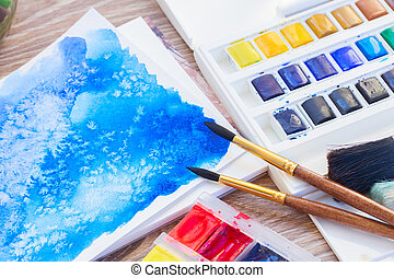 white canva with watercolor stroke - white canva with...