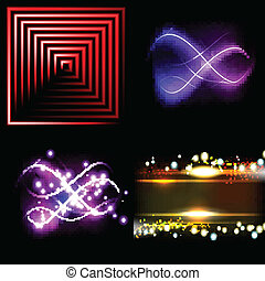 Set of Blurry abstract lines Light effect Sparkle background...