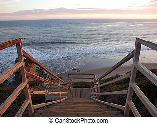 Ocean Stairs - A long stairway above the southern California...