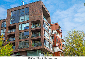 Apartment houses in the Hafencity in Hamburg
