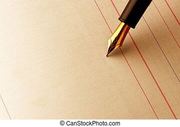 Fountain pen on ledger paper - Fountain pen about to write...