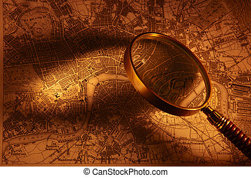 Antique map od London - Old map of London with magnifying...