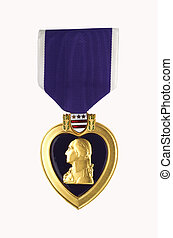Purple Heart shot on light background