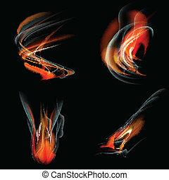 Collection of fires isolated on black background. Vector